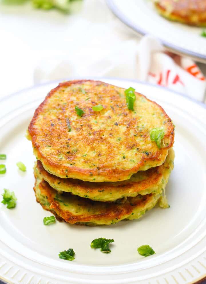 Zucchini Pancakes on a white plate