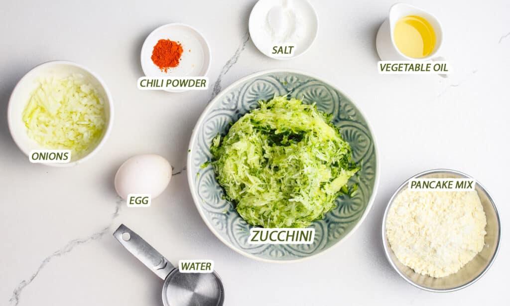 ingredients for Zucchini Pancake recipe