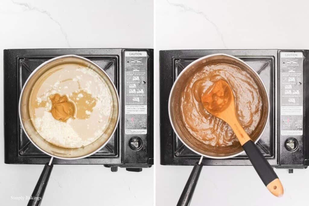 simmered and stirred the ingredients of peanut sauce in a small saucepan using a wooden ladle