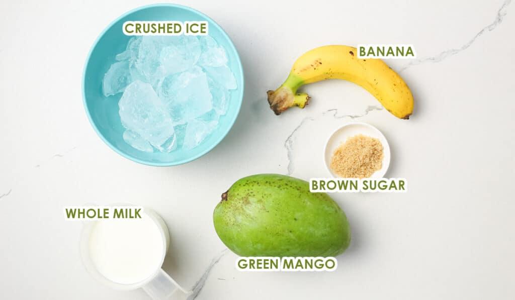 ingredients for green mango shake