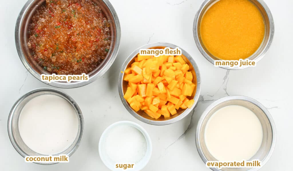 ingredients for mango sago recipe