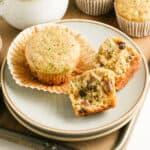 zucchini muffins on a dessert plate