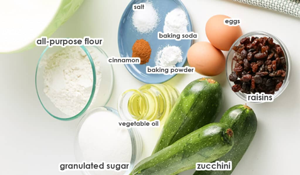 ingredients for Zucchini muffins