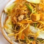 a bowl of vegan bam-i