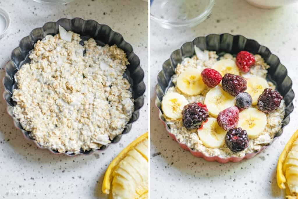 layers of oats mixture, bananas and berries in a baking dish