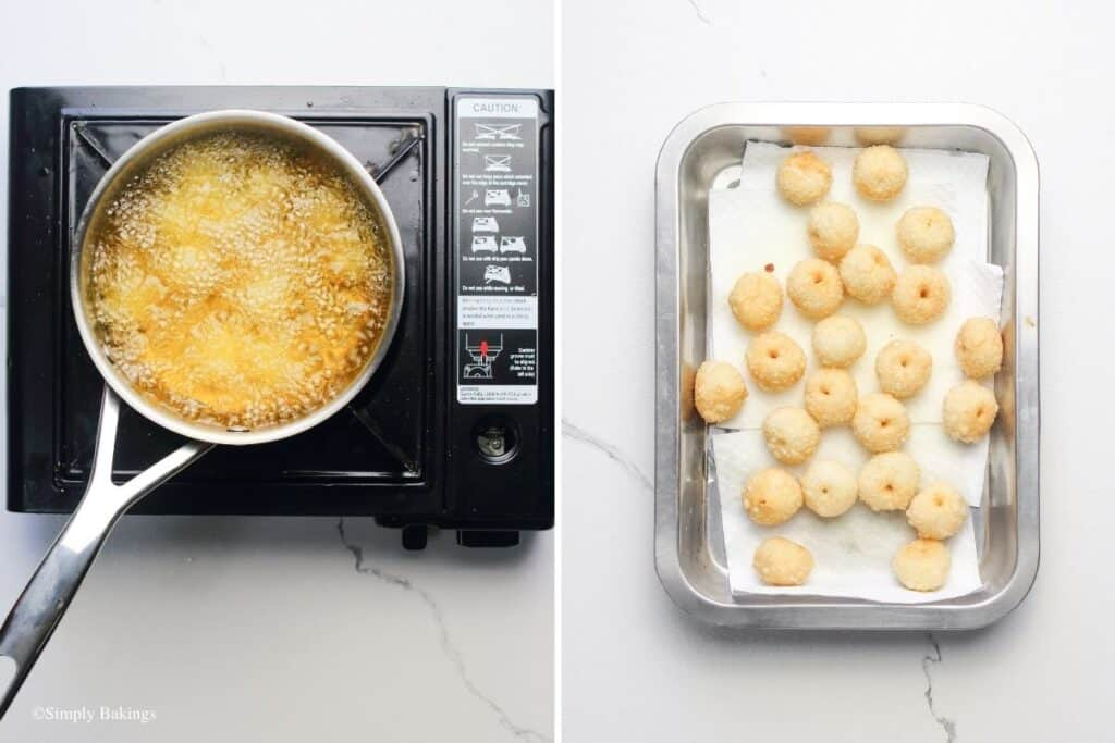 deep-fried sticky rice balls and placed on a dish pan with paper towels