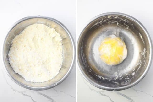 kneaded flour mixture and formed into a ball and wrapped with a cling wrap