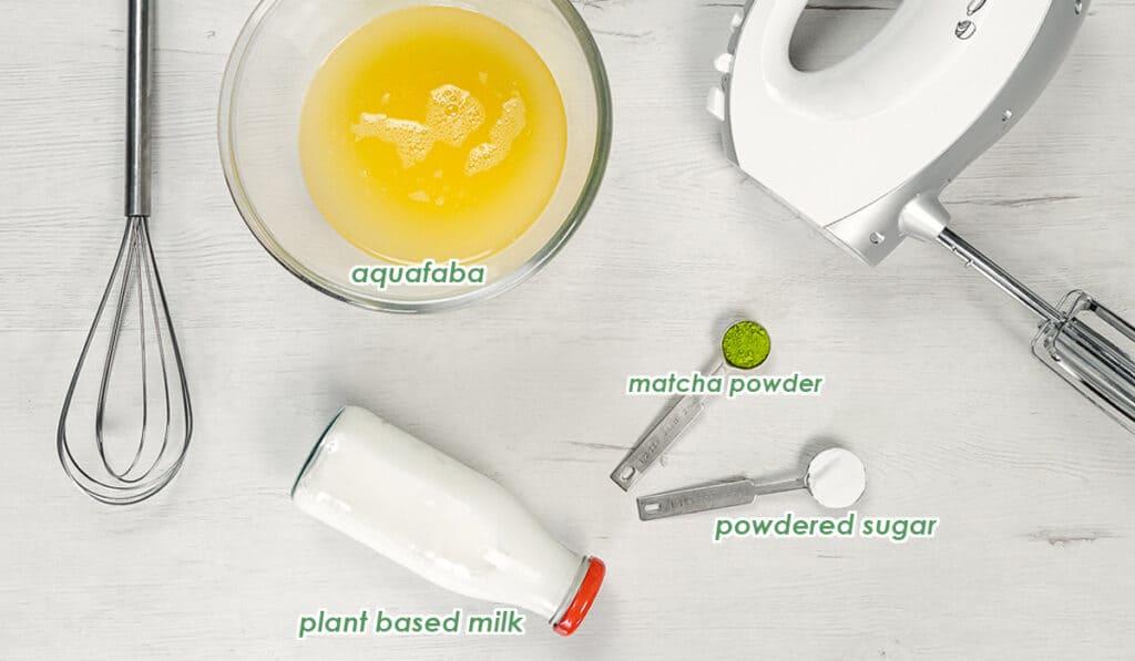 ingredients for the dalgona matcha recipe