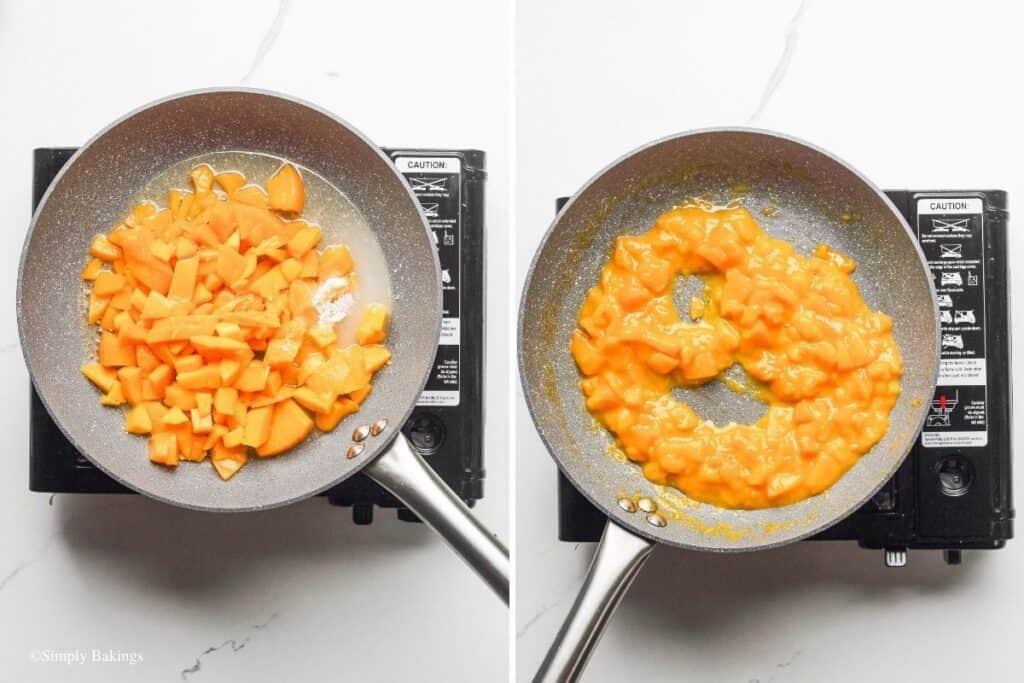 added peach, diced mango, water, sugar, cinnamon and salt in a large pan