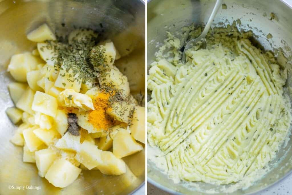 mashed potatoes with garlic, butter, turmeric, parsley, salt and pepper mixed together in a large bowl
