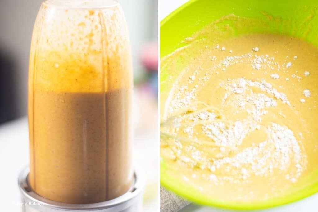a mixture of squash, cashew milk, brown sugar, coconut milk,flax seed, cinnamon, salt in a blender and poured in a large bowl then added with flour