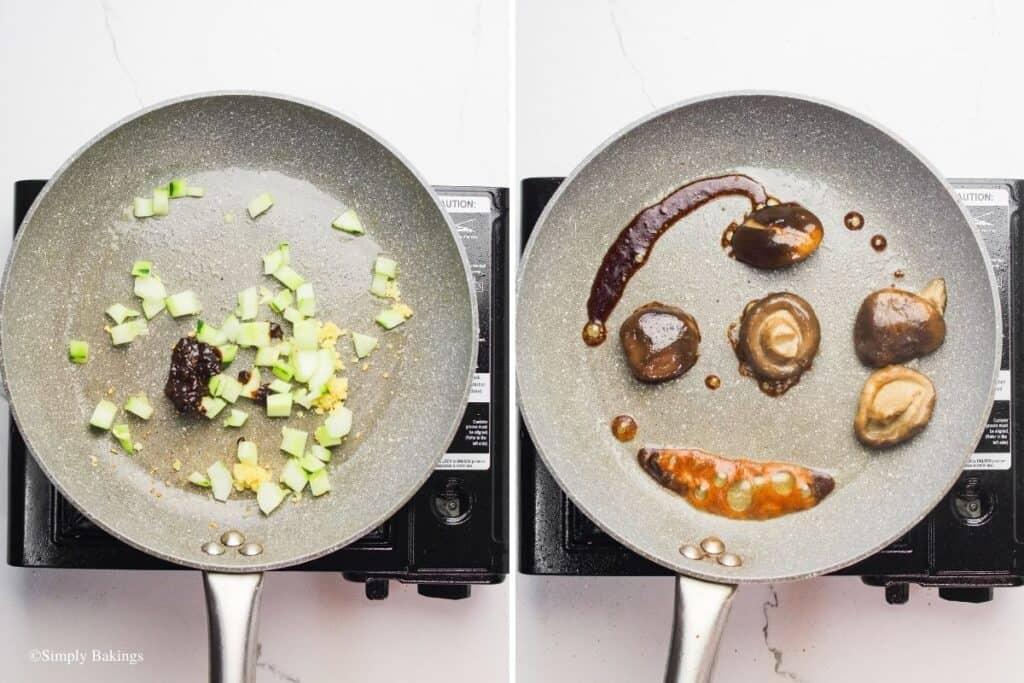 sauteed the garlic, zucchini, black bean sauce and mushroom in the pan
