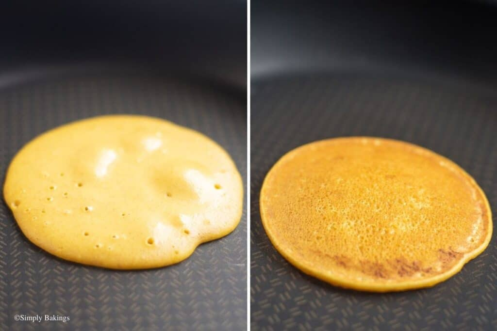 cooked the squash pancake batter in a pan