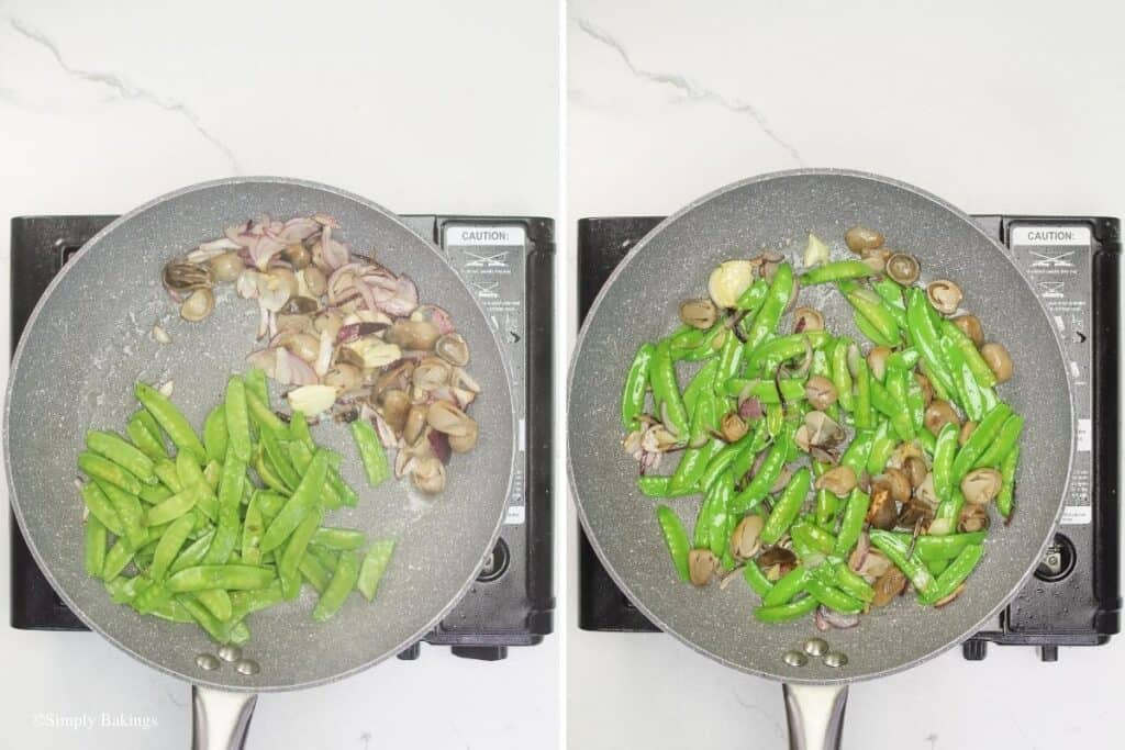added snow peas into the pan