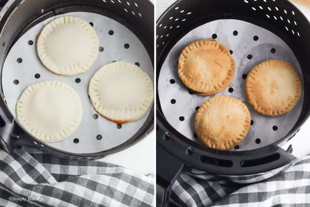 cooked mini pumpkin pies in the basket of the air fryer
