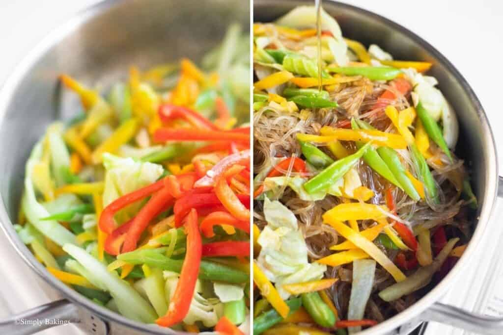 sautéed chayote, carrots, baguio beans, cabbage and bell pepper in a pan then mixed with the sotanghon