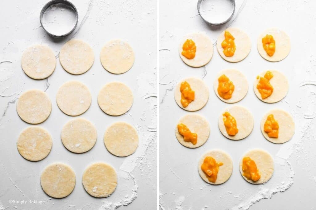cut the dough into rounds and half-filled with peach mango filling