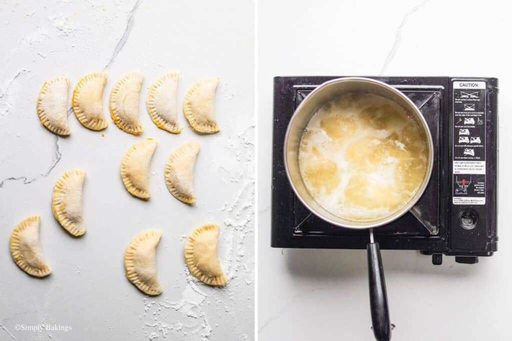 frying the half-moon peach mango pocket pie