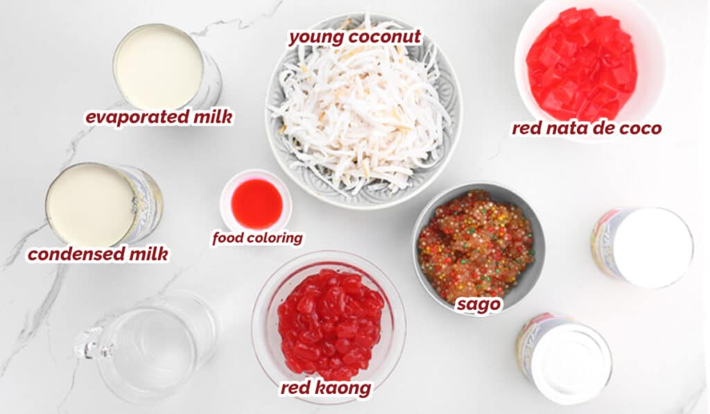 ingredients for buko salad drink recipe