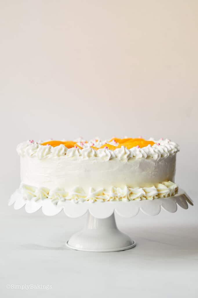 delicious chiffon cake on a round cake holder