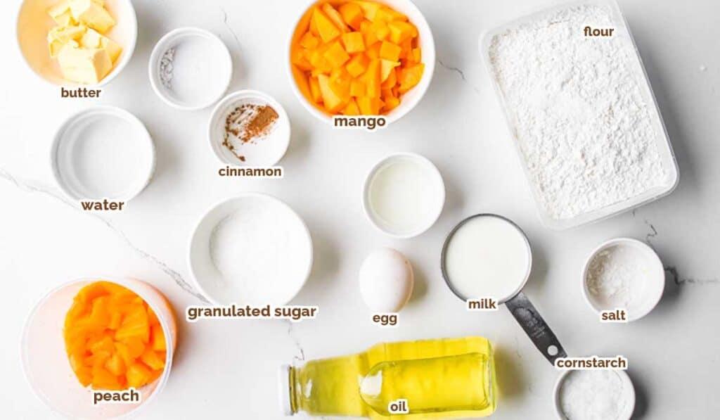 ingredients for peach mango pie recipe