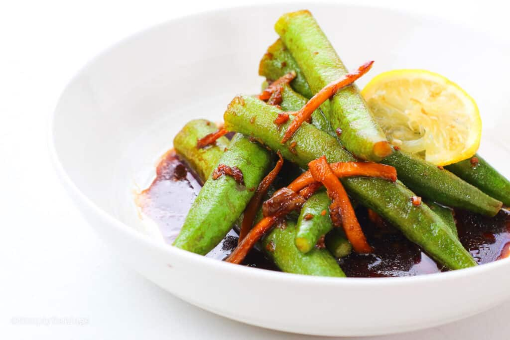 delicious okra dish in a white bowl
