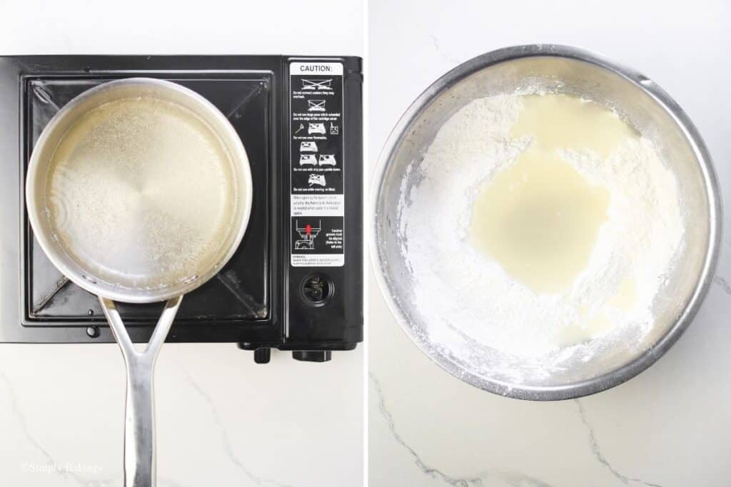 dissolved sugar in a boiling water then added the mixture to the glutinous rice in a bowl