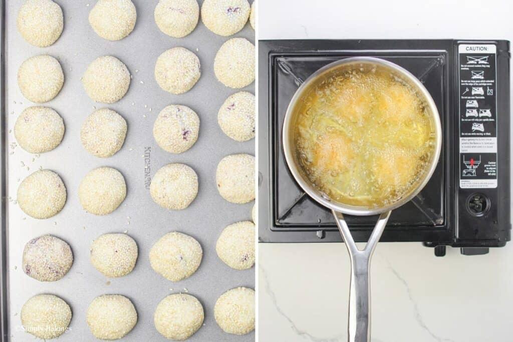 fried the dough balls until golden brown