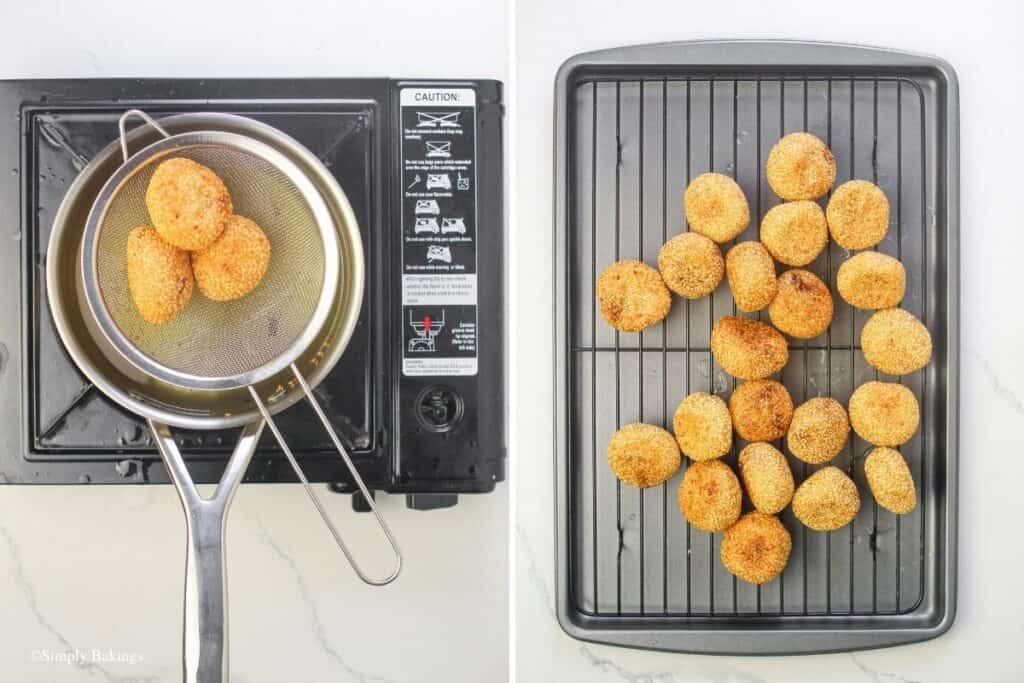 transferred the freshly cooked buchi from the pan to the wire rack