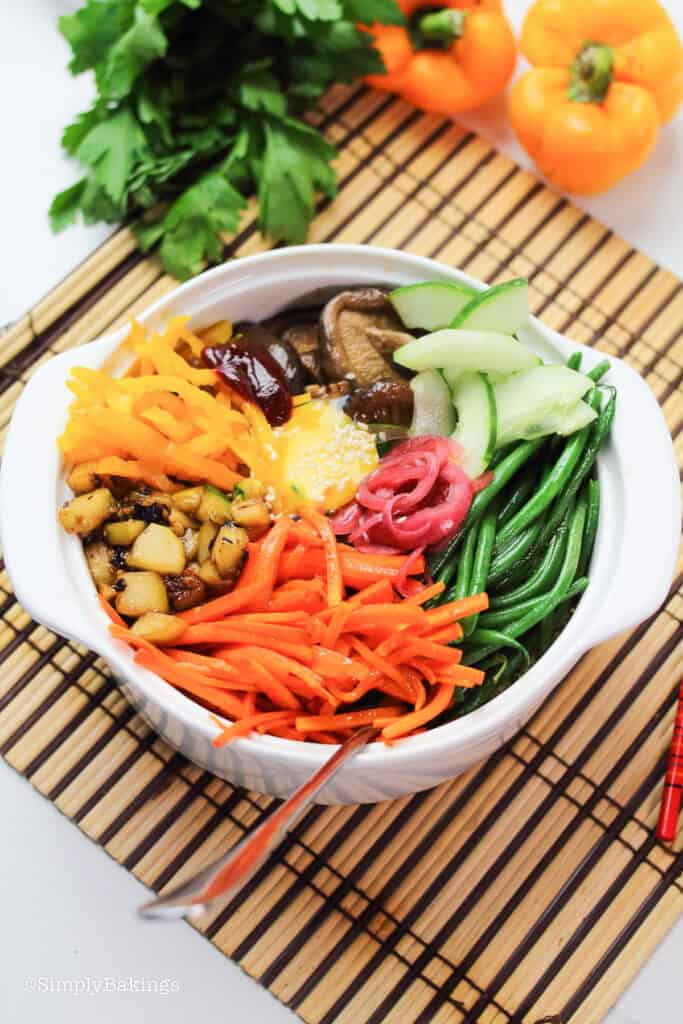 vegetarian bibimbap in a dolsot pot
