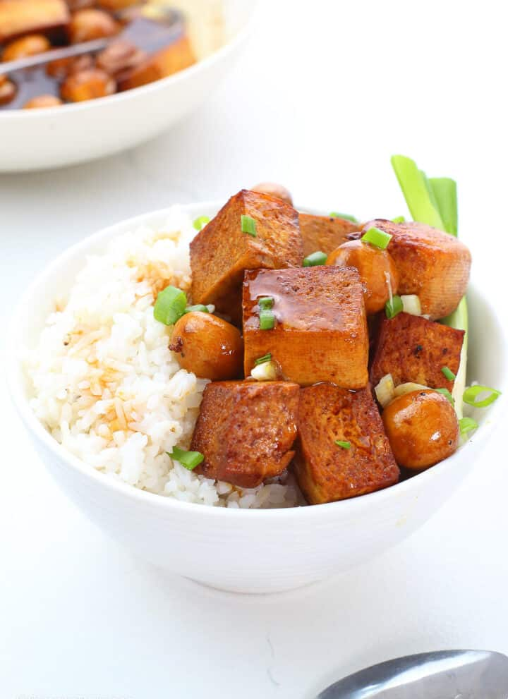 a bowl of white rice topped with tofu and mushroom adobo