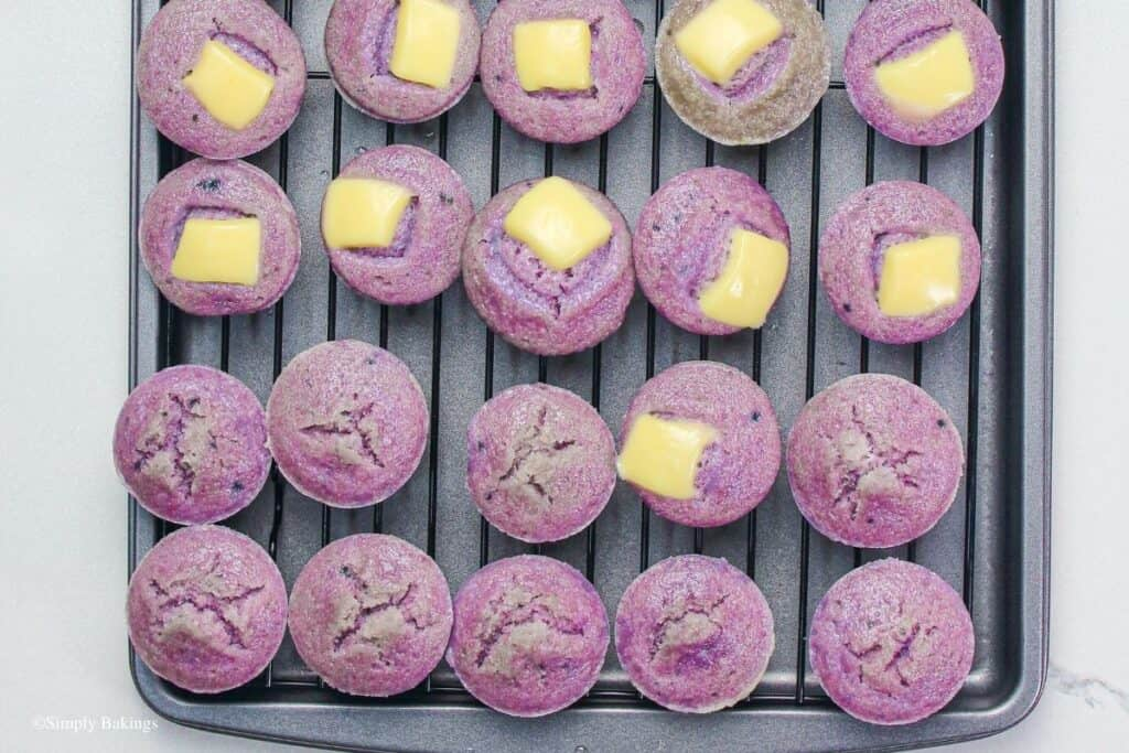 ube puto lined on a cooking rack