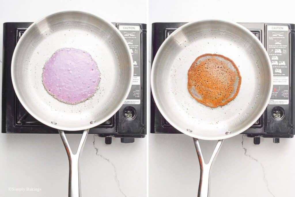 cooked the ube pancake batter in the pan