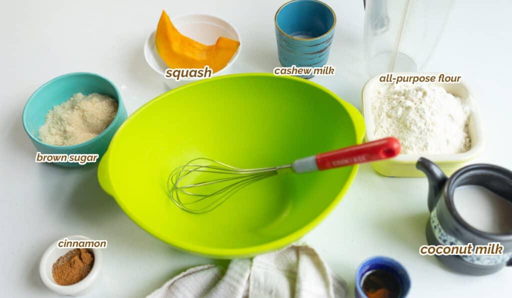 ingredients for squash pancakes