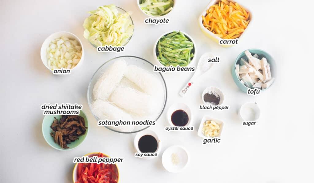 ingredients for vegan pancit sotanghon recipe
