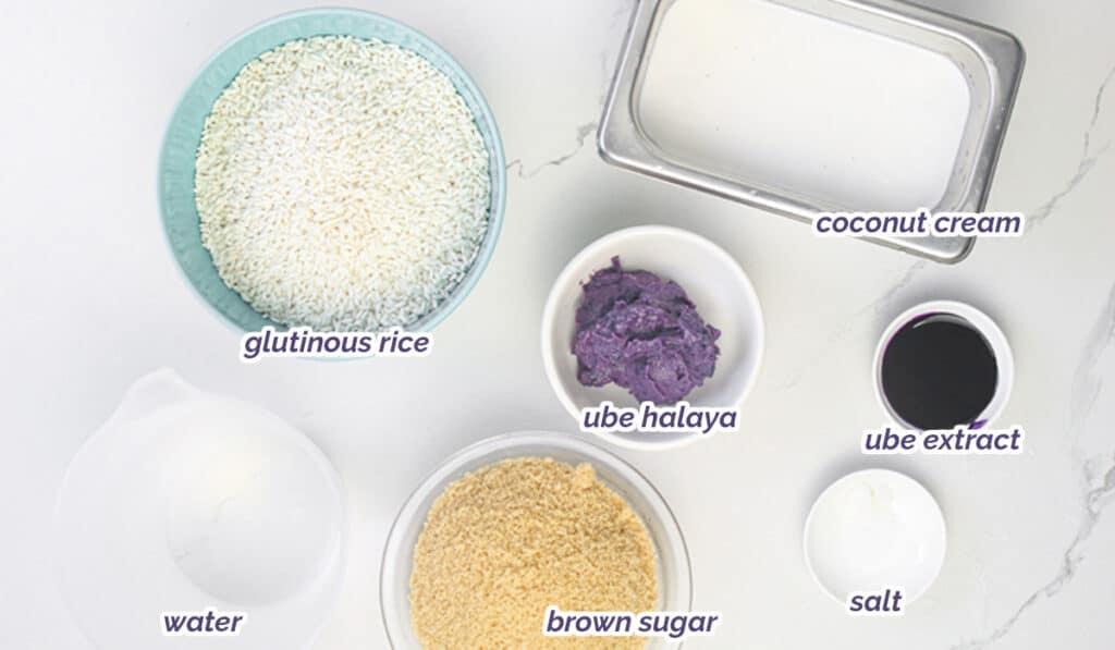 ingredients for ube biko (Filipino purple yam sweet sticky rice cake)