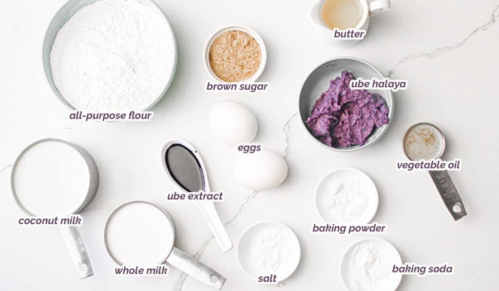 ingredients for ube pancake recipe