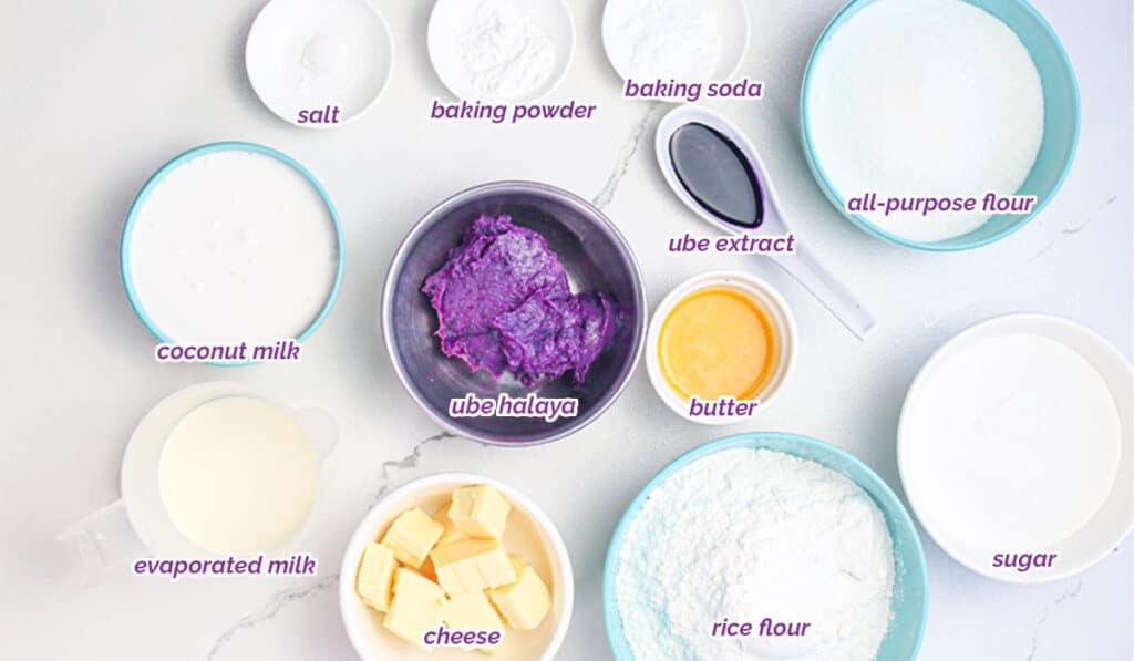 ingredients for ube puto recipe