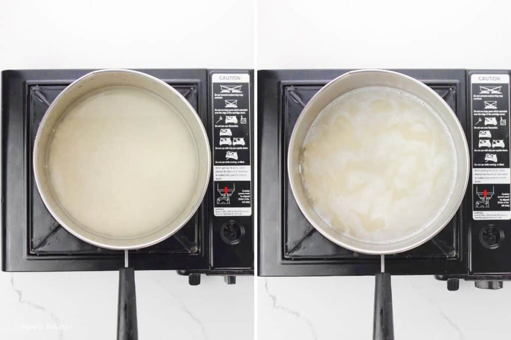 cooked glutinous rice in a large saucepan