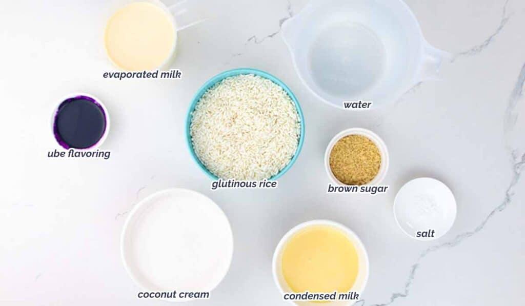 ingredients for ube champorado recipe